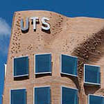 Exterior of the  Dr Chau Chak Wing Building with UTS sign