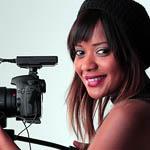 Isha Kamara with a camera